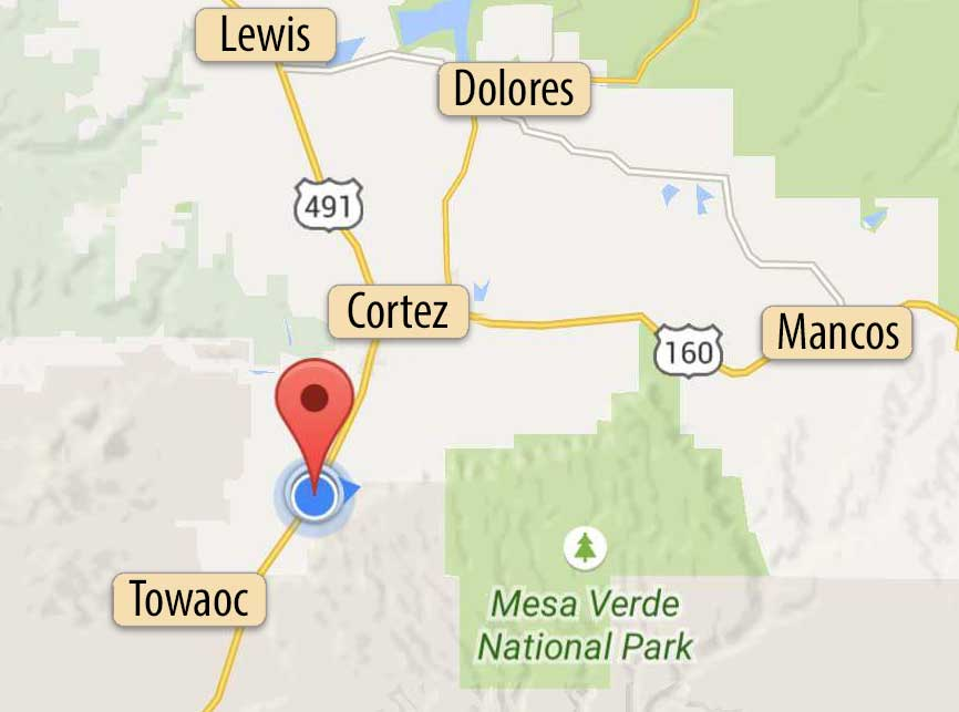 Location of Grizzly Roadhouse Bed & Breakfast and Vacation Rentals in southwest Colorado