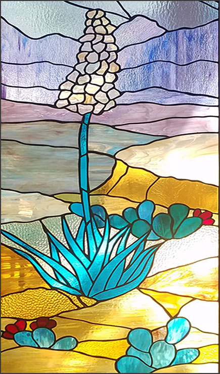Stained Glass Yucca Cactus Window created by Michelle Eagle Boyer